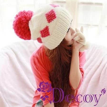 【Decoy】幾合菱格*球球毛線帽/粉