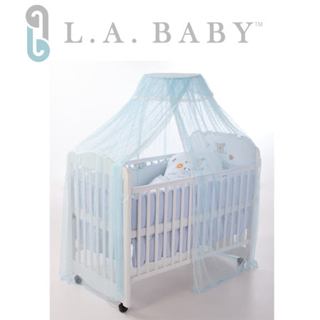 L.A. Baby豪華全罩式嬰兒床蚊帳(加大加長型)藍色