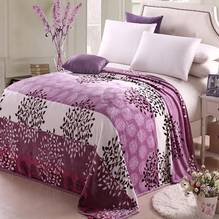 【情定巴黎】紫葉繽紛 保暖法蘭絨毯包邊超值加厚款(150cm x200cm)
