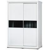 日式量販 極簡黑白設計5尺推門衣櫃