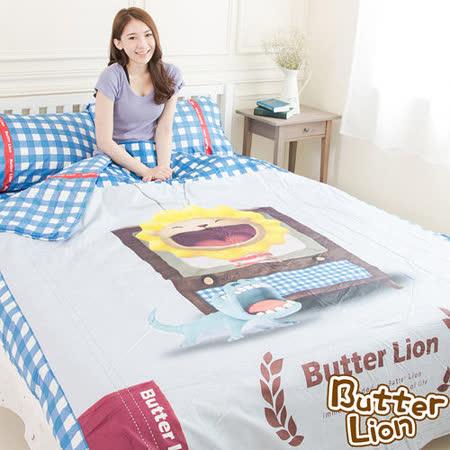 【奶油獅】格紋系列-台灣製造-藍格電視款100%精梳純棉床包兩用被套四件組-雙人5尺