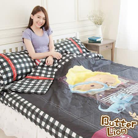 【奶油獅】格紋系列-台灣製造-黑格電視款100%精梳純棉床包兩用被套四件組-雙人5尺