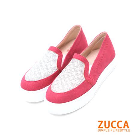 Zucca【Z5609RD】璀璨閃燿亮鑽平底懶人鞋-紅色