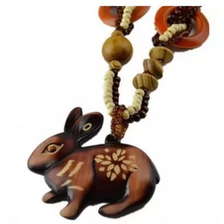 【Maya 名媛】 手製工藝 木頭民族風格 長項鏈 立體兔子