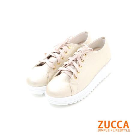 ZUCCA【Z-5630GD】日系亮面系綁繩厚底休閒鞋-金色