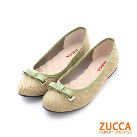 ZUCCA【Z-5634GN】編織小金屬朵結平底鞋-綠色