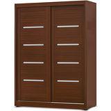 日式量販 舒適簡約系統胡桃5尺推門衣櫃