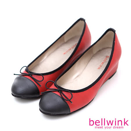 bellwink【B-9002RD】甜美色塊朵結平底娃娃鞋-紅色
