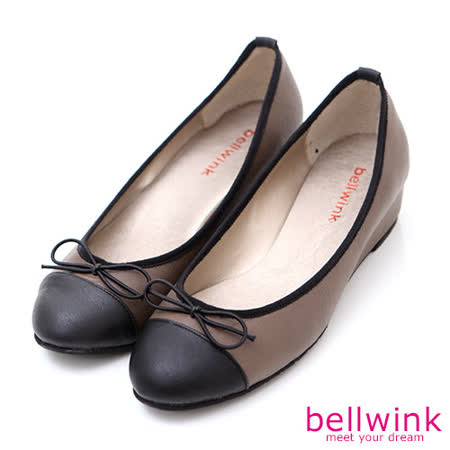 bellwink【B9002CE】甜美色塊朵結平底娃娃鞋-棕色