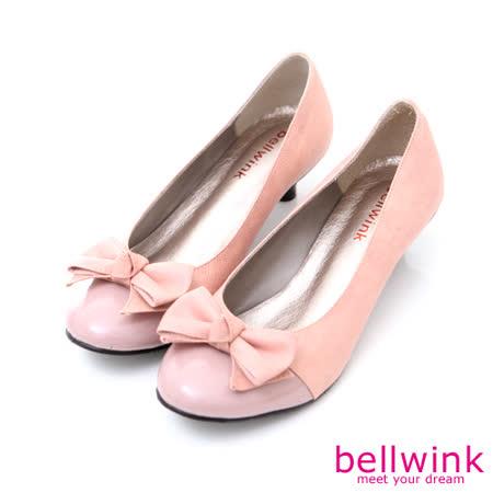 bellwink【B-9005PK】蝴蝶朵結亮面皮低跟鞋-粉色