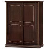 日式量販 復古簡約胡桃5.3尺推門衣櫃