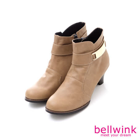 bellwink【B-9020CL】精緻皮革金屬片低跟踝靴-駝色