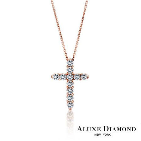 A-LUXE  亞立詩鑽石 0.24克拉 玫瑰金十字架美鑽項鍊