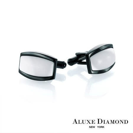 A-LUXE 亞立詩鑽石 時尚白瓷袖扣