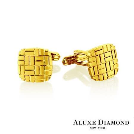 A-LUXE 亞立詩鑽石 都會時尚純銀鍍金袖扣