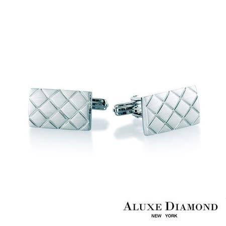 A-LUXE 亞立詩鑽石 都會時尚純銀袖扣
