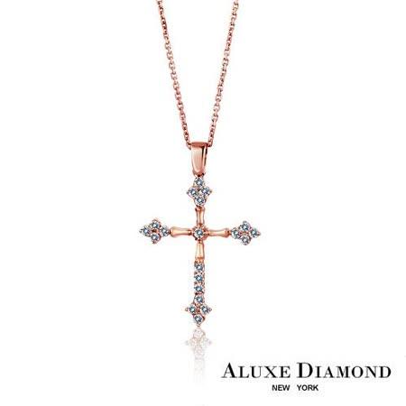 A-LUXE  亞立詩鑽石 玫瑰金十字架美鑽項鍊