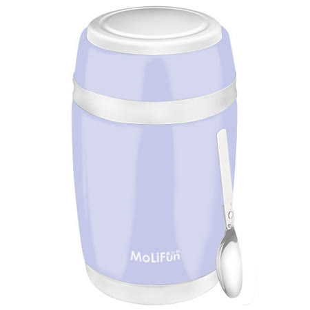 MoliFun魔力坊 不鏽鋼真空保鮮保溫燜燒食物罐550ml-淡雅紫