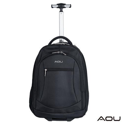 AOU微笑旅行 輕量經典款 可收納筆電 拉舊 遠 百桿式雙肩後背包(百搭黑)26-005