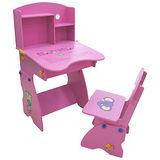 EMC 木質兒童升降成長書桌椅(粉紅)