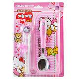 韓國 Edison Hello Kitty 兒童學習餐具組 第一階段學習筷+湯匙+餐袋 (建議兩歲以上使用)