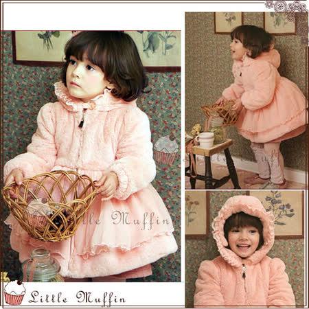 韓 毛絨絨加厚鋪棉 珊瑚絨蕾絲網紗粉紅保暖連帽縮口外套 100-140