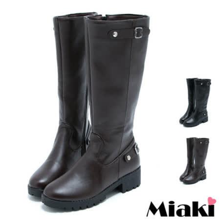 【Miaki】嚴選長靴 經典皮質平底高筒靴(黑色 / 棕色)