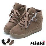 【Miaki】內增高美鞋短靴 綁帶平底休閒鞋 (卡其 / 咖啡 / 黑色)