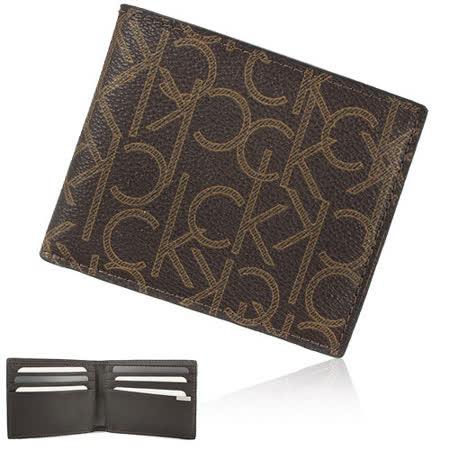 Calvin Klein 新款CK LOGO紋皮革短夾禮盒-咖啡