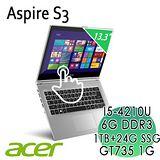 《ACER  24期》S3-392G 金屬觸控筆電(i5-4210U/6G/1TB+24GSSD/GT735 1G)買就送acer無線滑鼠機+清潔組