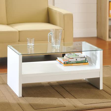 【Yomei】簡約安全玻璃小茶几桌(白色)