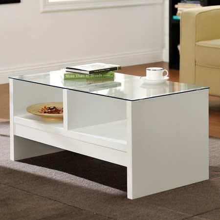 【Yomei】經典安全玻璃小茶几桌(白色)