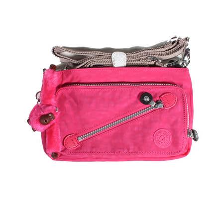 【Kipling】BASIC系列 前卡夾口袋手提斜背兩用小包 草莓棉花糖 K-374-3696-120