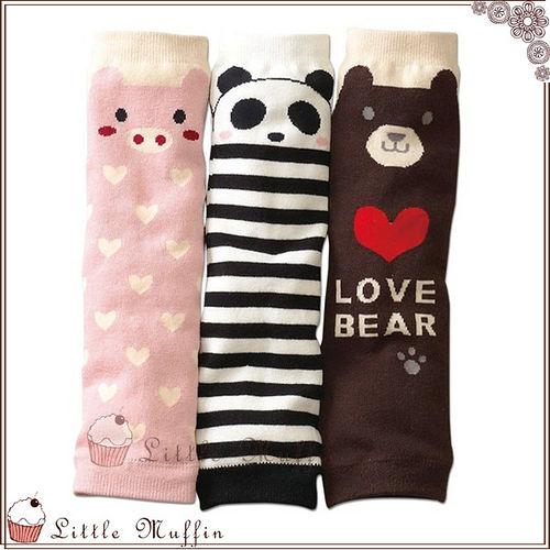 日 愛心小豬條紋熊貓巧克力熊熊 百搭保暖襪套冷氣房空調