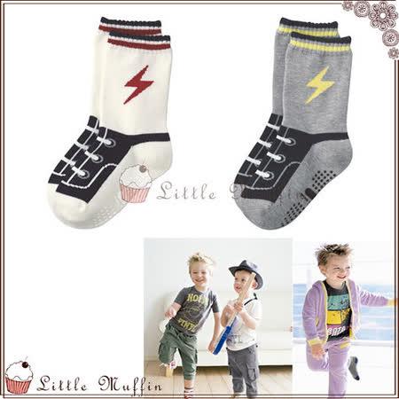 帥氣閃電假鞋帶鞋型襪/地板襪 防滑設計 二雙一組 棉質