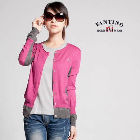 【FANTINO】女裝 可水洗羊毛針織小外套 (桃紅) 087301