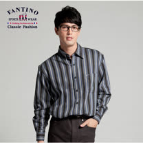 【FANTINO】 時尚格紋全棉材質襯衫 (藍黑)144510