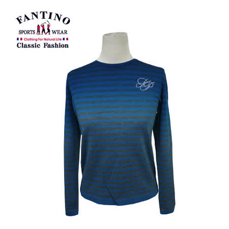【FANTINO】女裝 可水洗渲染條紋羊毛衣(灰藍)387104