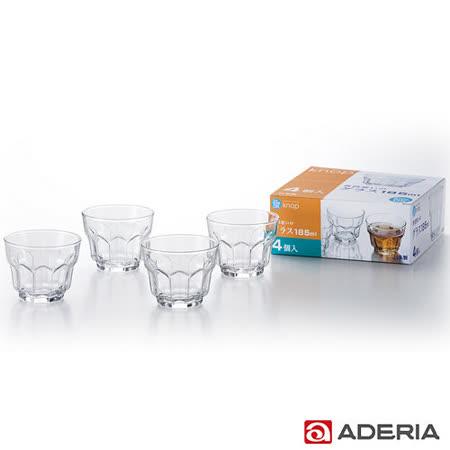 【ADERIA】日本進口花型玻璃杯四件組185ml