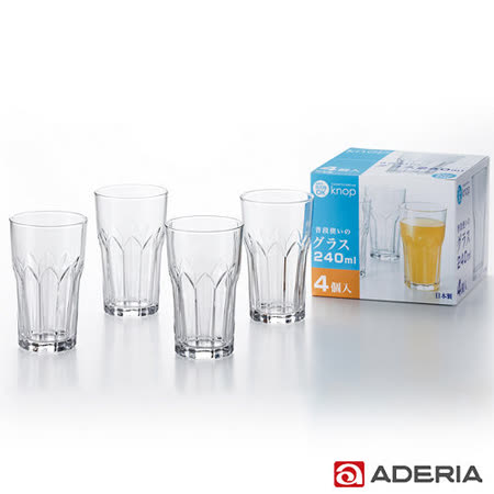 【ADERIA】日本進口花型玻璃杯四件組240ml