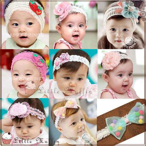韓國 高 蕾絲花朵蝴蝶結 髮帶 嬰兒寶寶 假髮髮帶髮飾髮束