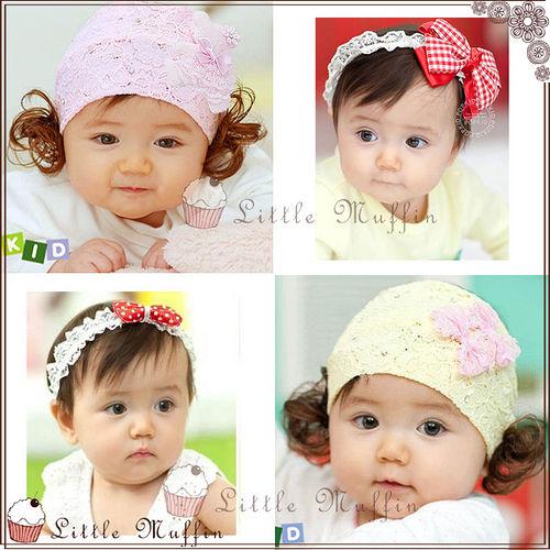 韓國 嬰兒寶寶蕾絲裝飾 假髮髮帶髮飾髮束