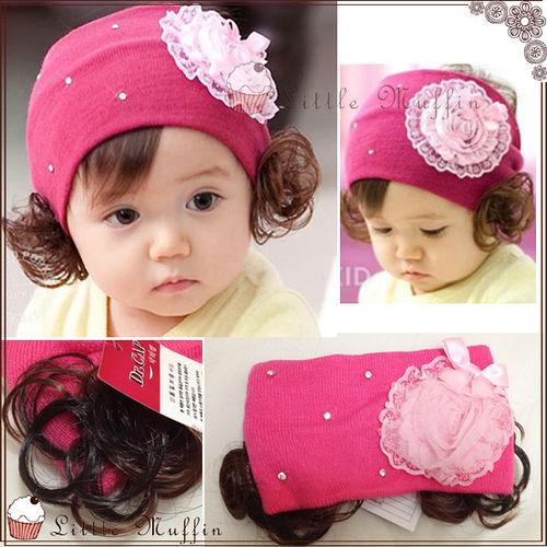柔柔雪紡玫瑰花 水鑽 細針織超彈性寶寶假髮髮帶髮飾