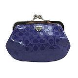 COACH 釦珠造型輕巧PVC零錢包-深紫