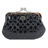 COACH 釦珠造型輕巧PVC零錢包-黑