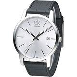 CK City 時尚男仕系列都會風腕錶-銀白/黑(K2G2G1C6)