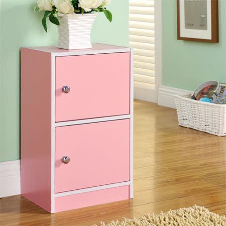 【Yomei】DIY輕鬆收納兩門櫃/書櫃/置物櫃/收納櫃(粉色)