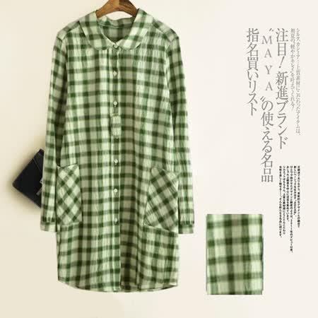 【Maya Collection】日系薄款清新復古方格寬鬆長版上衣 (共二色)