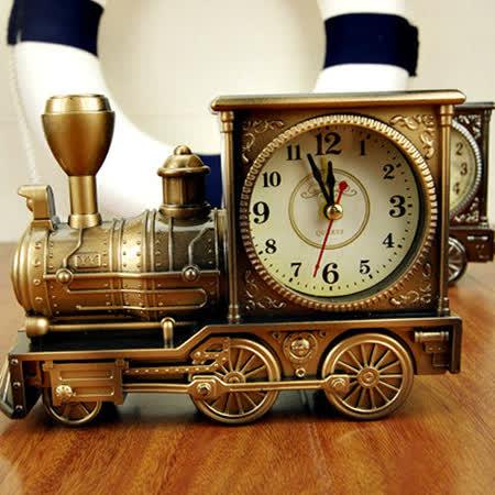 歐式仿古復古火車頭造型鬧鐘 時鐘 (古銅金/古銅銀)