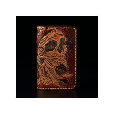 倉吉0268 海盜骷髏植鞣革皮雕手工財布/ 皮夾